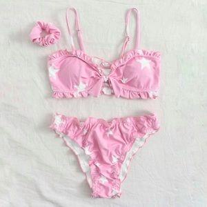 pink star ruffle bow bikini